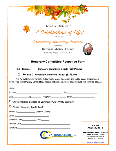 Celebration of Life honorary committee response form 2018