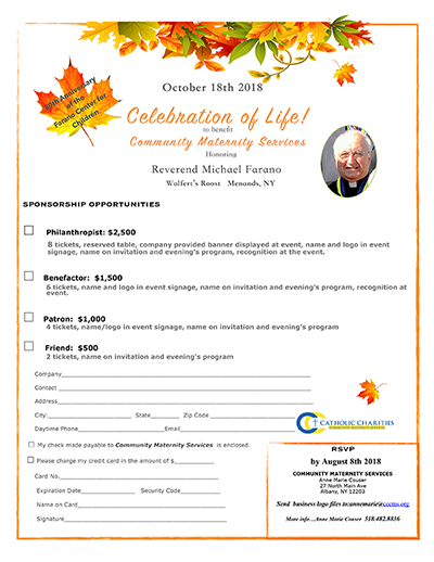 Celebration of Life sponsorship opportunities form 2018